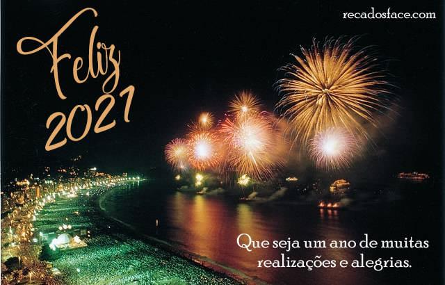 Feliz 2021 Que seja um ano de muitas  realizações e alegrias.