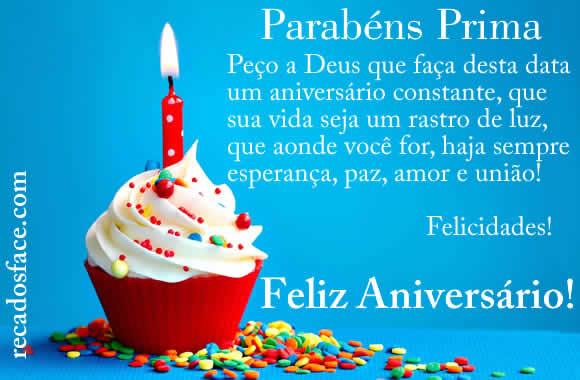 Feliz aniversário prima - Imagens para facebook
