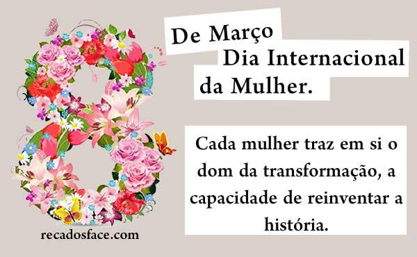 Mensagem Dia da Mulher. Dia das mulheres.