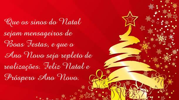 Que os sinos do Natal sejam mensageiros de Boas Festas. Feliz Nstal
