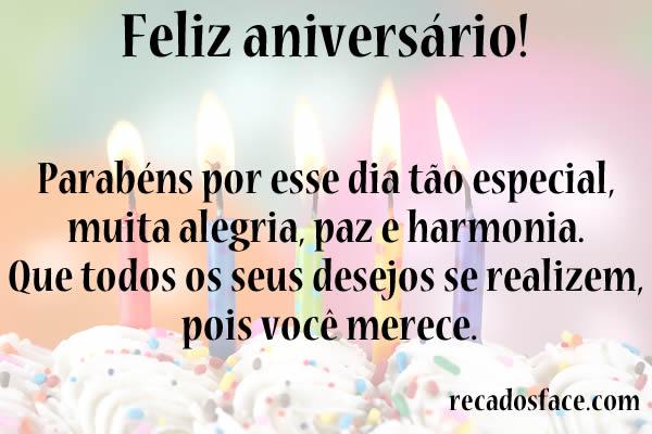 Feliz aniversário, parabéns por esse dia especial